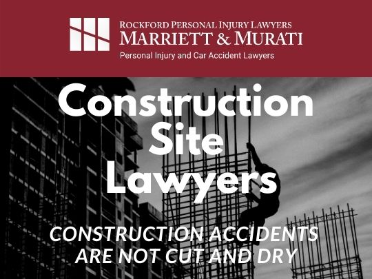 image for construction site lawyer webpage showing logo and worker on steel